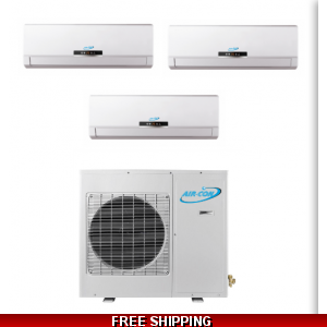AirCon Tri Zone 2x9000 BTU + 18000 BTU 21 SEER Mini Split Heat Pump AC